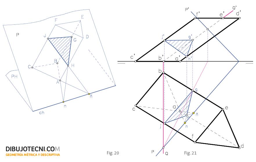 Sección oblicua de un prisma oblicuo. Mediante afinidad.