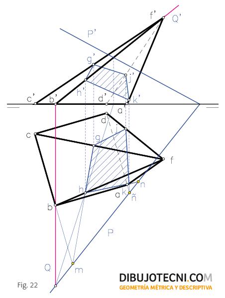 Sección oblicua de una pirámide. Mediante homología.