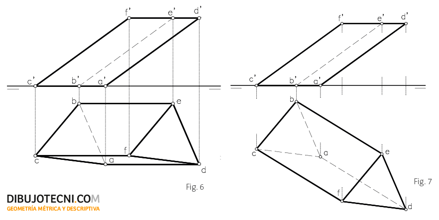 Prisma oblicuo, con la base contenida en el plano horizontal de proyección.