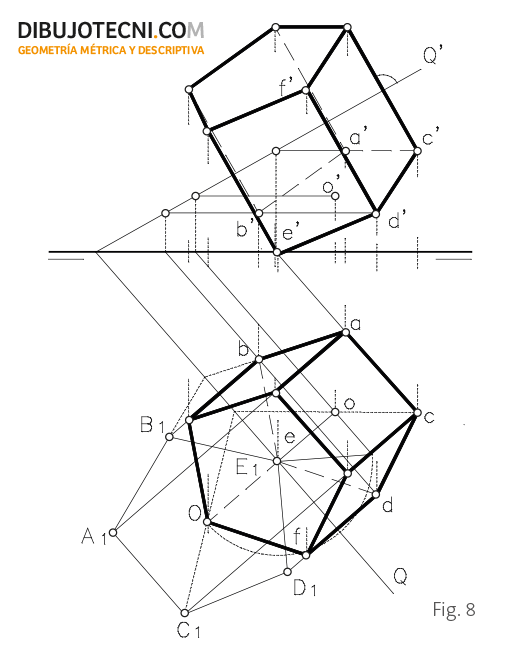 Prisma con la base contenida en un plano oblicuo.