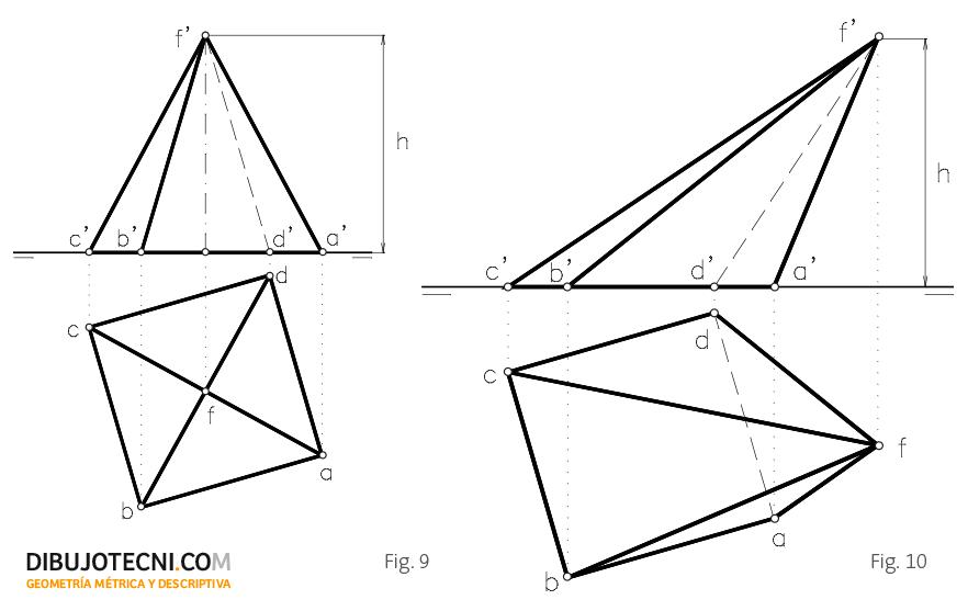 Pirámide recta y oblicua con la base contenida en el plano horizontal de proyección.