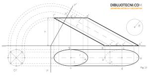 Cilindro oblicuo y de revolución con la base contenida en el plano horizontal de proyección y eje frontal.