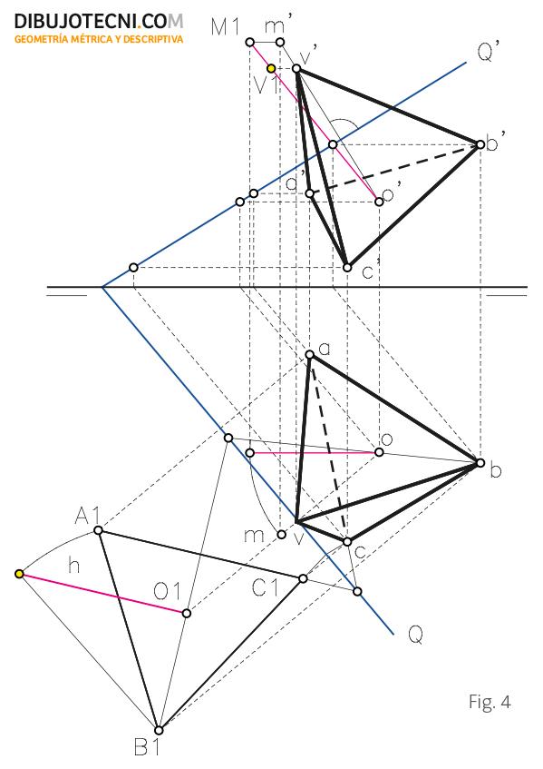 Tetraedro con una de sus caras apoyada en un plano cualquiera.