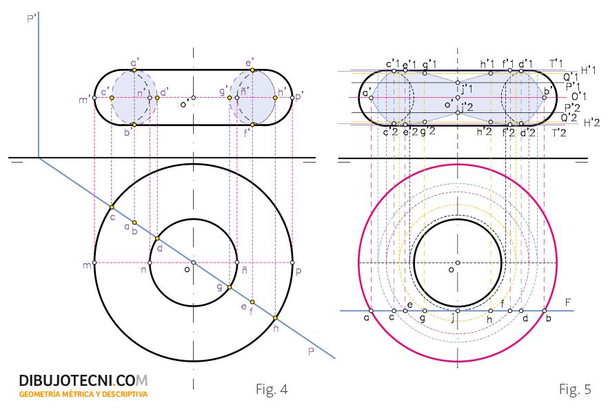 Sección del toro. Por un plano secante paralelo a su eje y proyectante horizontal y por un plano frontal.
