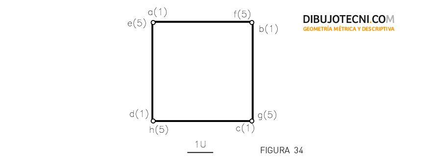 Hexaedro, apoyado por una de sus caras en un plano P paralelo al Plano de Proyección y situado a una unidad de éste. Magnitud de la arista 4 unidades.