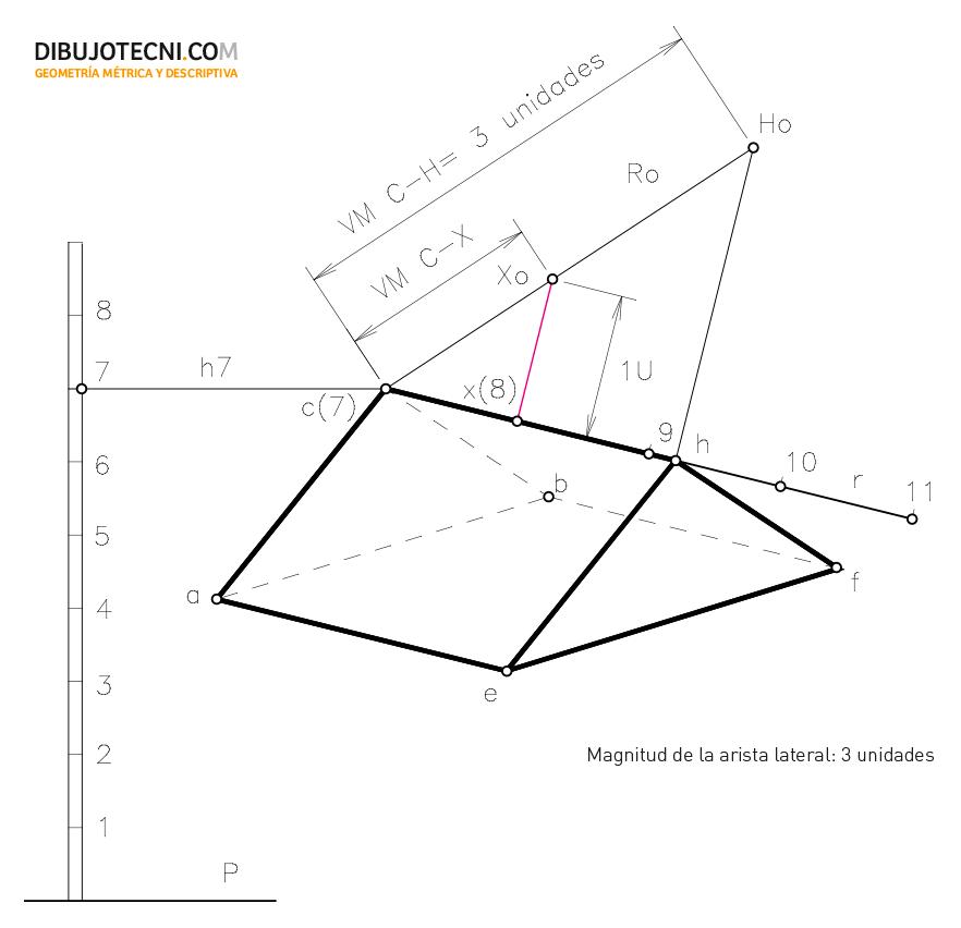 Prisma oblicuo, conocidas las bases irregulares y apoyado por una de éstas en un plano oblicuo P dado.