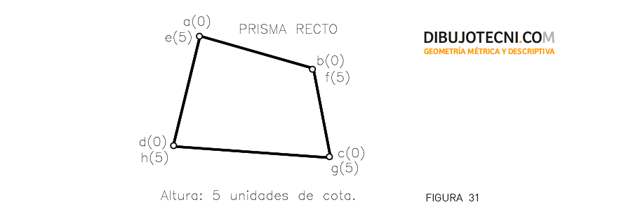 Prisma recto, conocida la base irregular y la altura, apoyado por ésta en el plano de proyección.