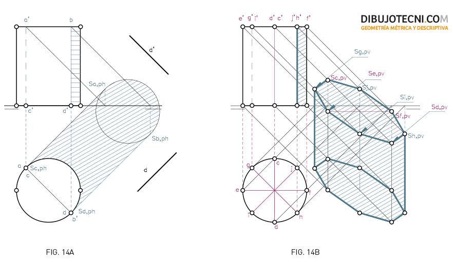 Sistema Diédrico. Sombra de un cilindro en los planos de proyección considerando el vertical y el horizontal transparentes.