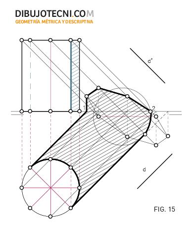 Sistema Diédrico. Sombra de un cilindro en los planos de proyección considerando los planos de proyección opacos.