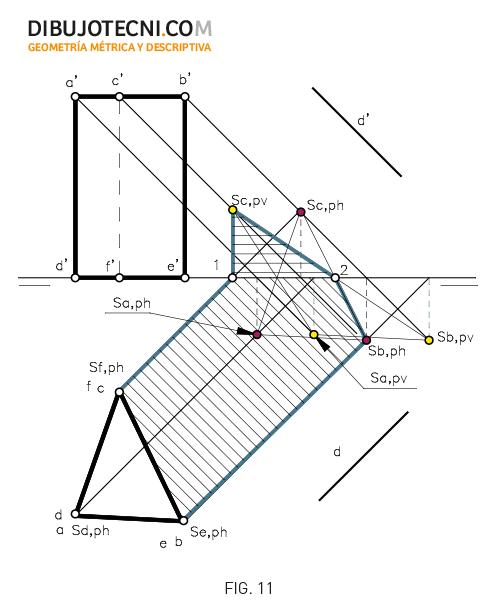 Sistema Diédrico. Sombra de un prisma.