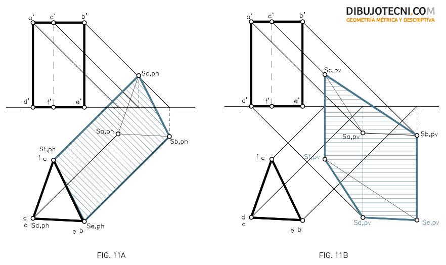Sistema Diédrico. Sombra de un prisma en los planos de proyección considerando el horizontal y el vertical transparentes respectivamente.