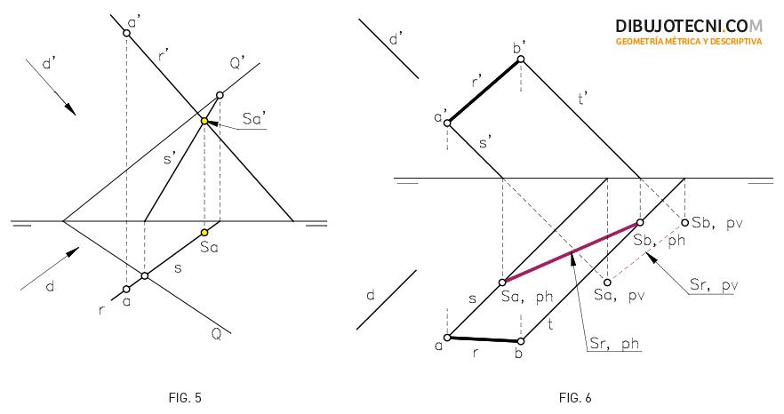 Sistema Diédrico. Sombra de un punto en un plano oblicuo. Sombra de un segmento en los planos de proyección.