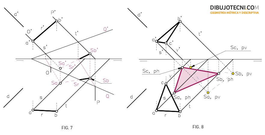 Sistema Diédrico. Sombra de un segmento y una figura plana en un plano oblicuo.