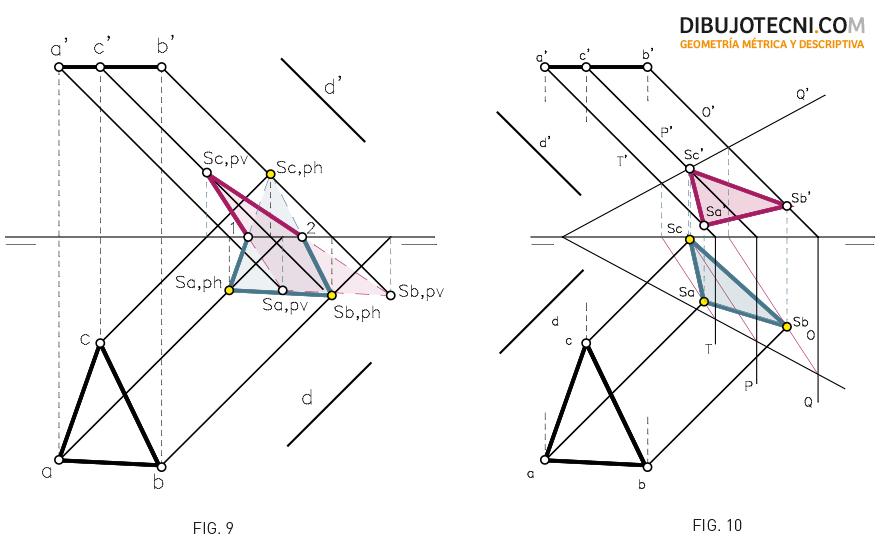 Sistema Diédrico. Sombra de una figura plana en los planos de proyección y en un plano oblicuo.