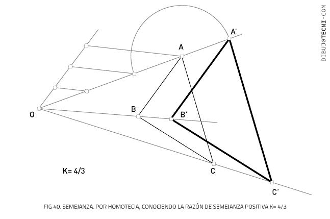 Semejanza. Por homotecia, conociendo la razón de semejanza positiva K= 4/3