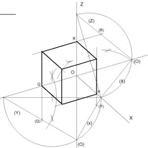 Dibujar hexaedro. Coeficiente de reducción en perspectiva axonométrica trimétrica
