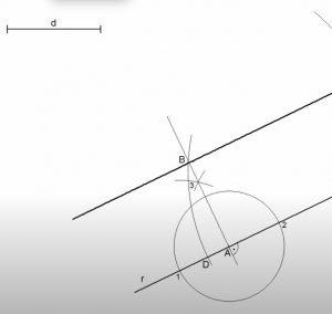 Recta paralela a otra a una distancia dada (método del compás)