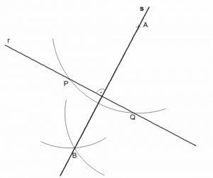 Recta perpendicular a otra dada por un punto exterior (método del compás)